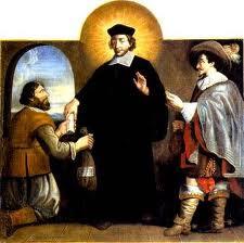 San Ivo con ropaje de clerigo impartiendo justicia entre un noble y un campesino