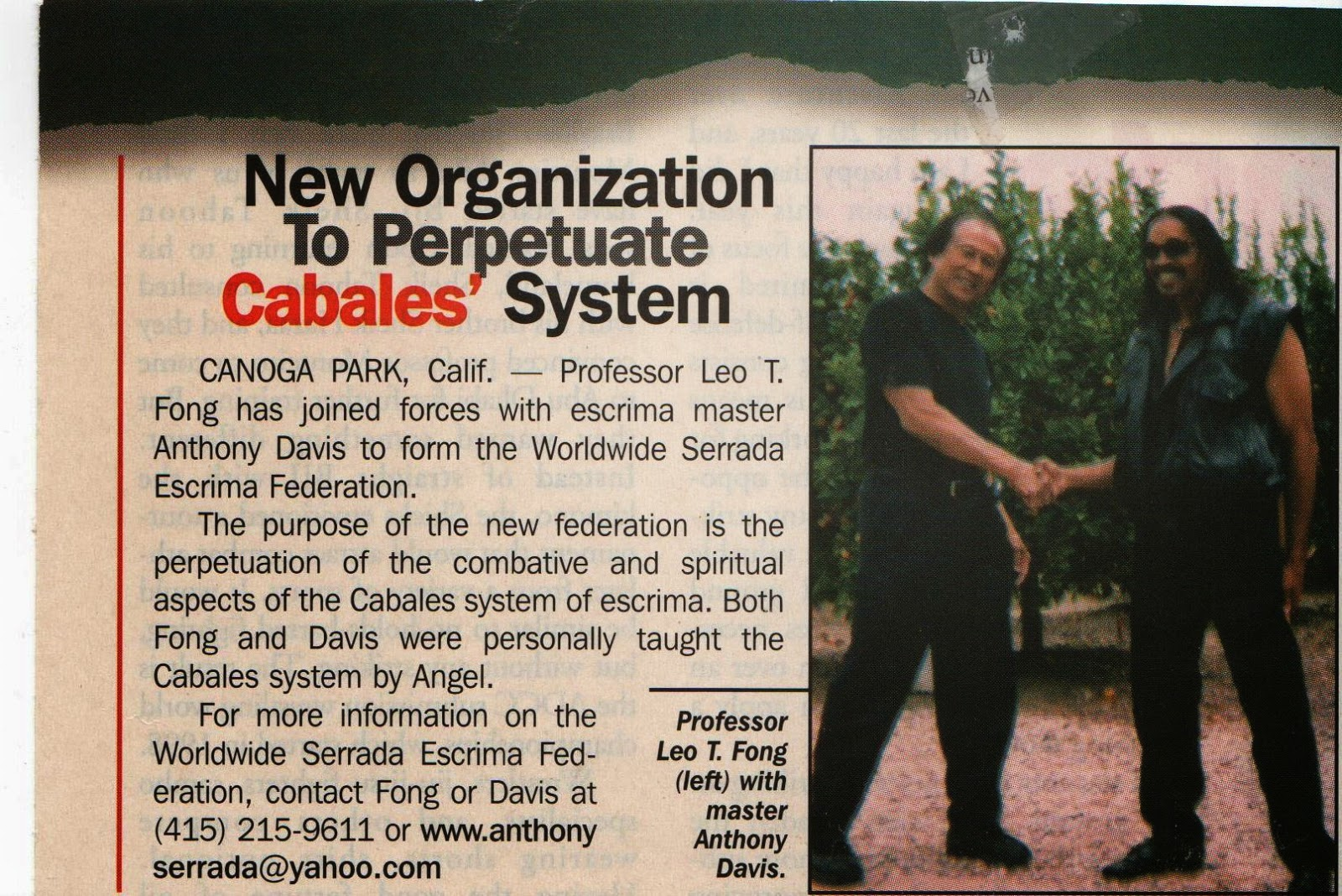 Excerpts From the Legacy of Grandmaster Angel Cabales By Anthony Davis with Leo T. Fong