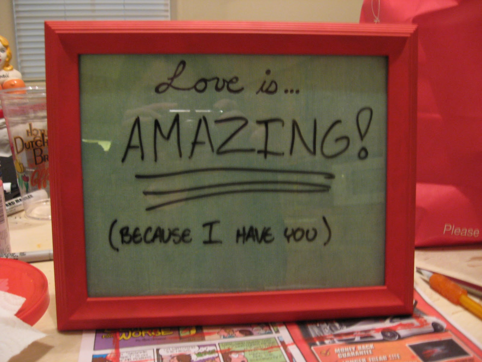 How to scrapbook for boyfriend - I Just Took A Picture Frame From The Dollar Store Painted It Red And Drew The Love Is On The Scrapbook Paper Before Going Over It With A Permanent