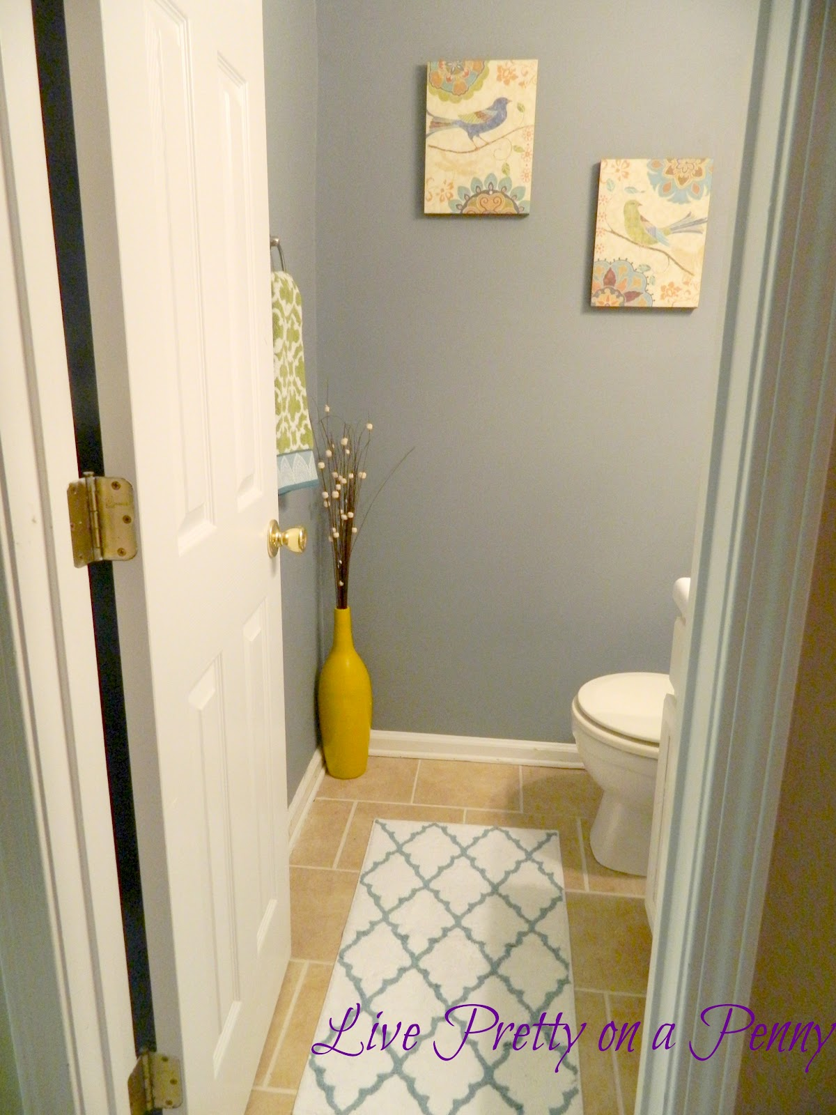 Budget half bath makeover live pretty on a penny for Bathroom decor 2012