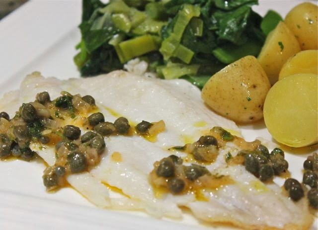 LEMON SOLE AND CAPER SAUCE