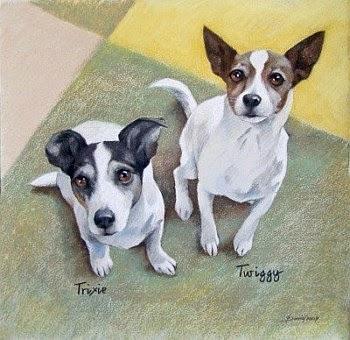 Hundeporträt, Pastellzeichnung auf Papier