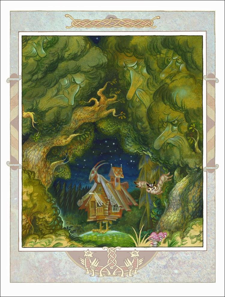 Мачеха и перешла на житьё в другой дом, а возле этого дома был дремучий лес, а в лесу на поляне стояла избушка, а в избушке жила Баба-Яга