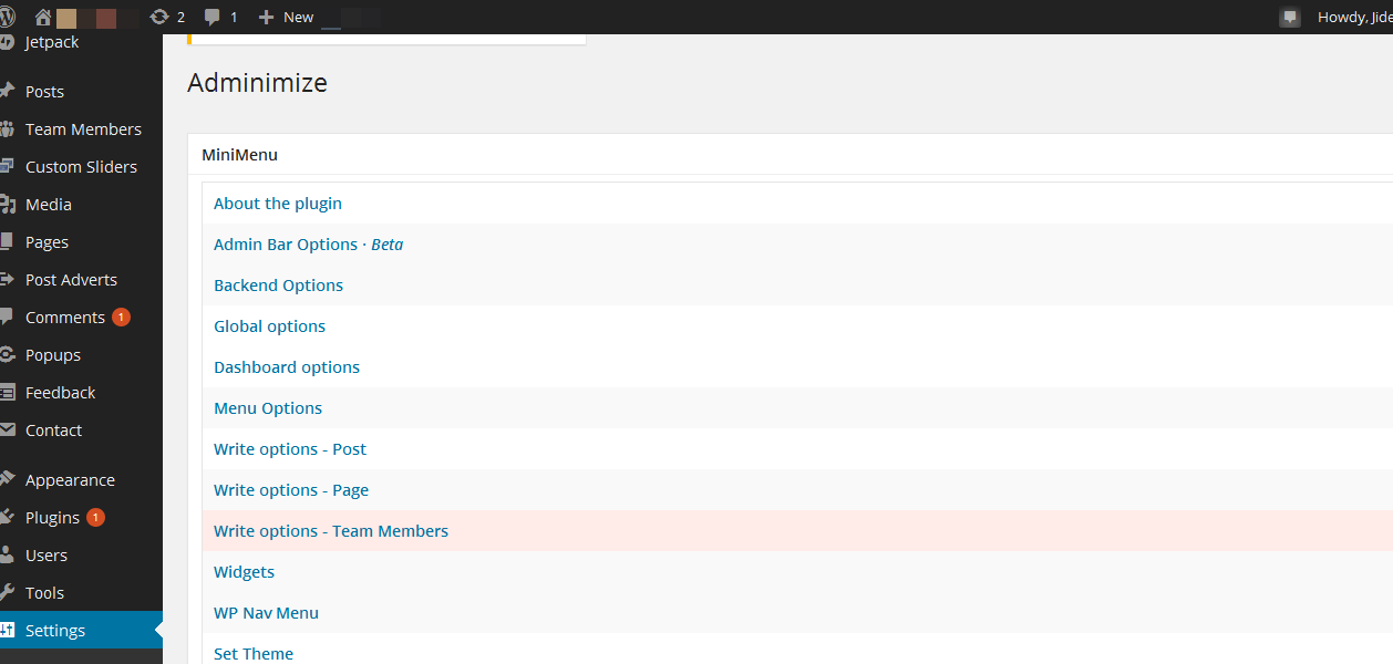 adminimize plugin for wordpress