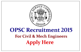 Odisha Public Service Commission (OPSC) Recruitment 2015 Engineers for the post of  Asst. Executive Engineer