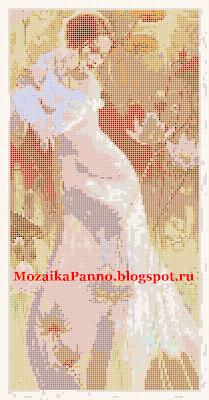 Мозаичное панно «Женщина в лотосах»