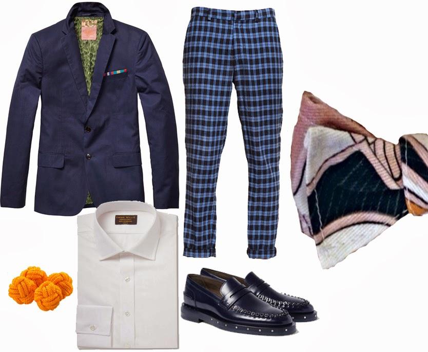 outfit uomo shop online giacca scotch and soda pantaloni msgm camicia bianca mocassini blu lanvin gemelli boss senape