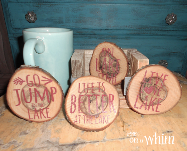 Lake Life Themed Log Slice Coasters from Denise on a Whim