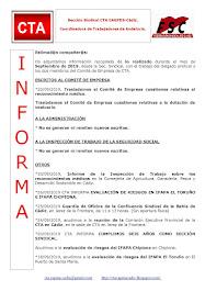 C.T.A. INFORMA, LO REALIZADO EN AGOSTO DE 2019
