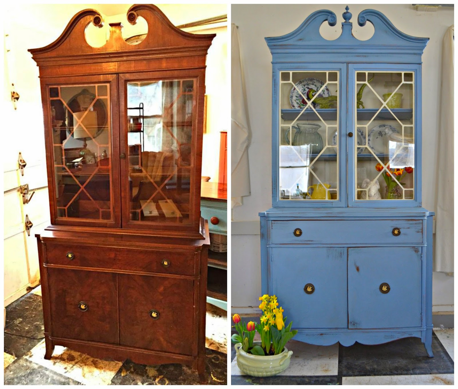 Heir and Space: An Antique China Hutch in Wedgwood Blue