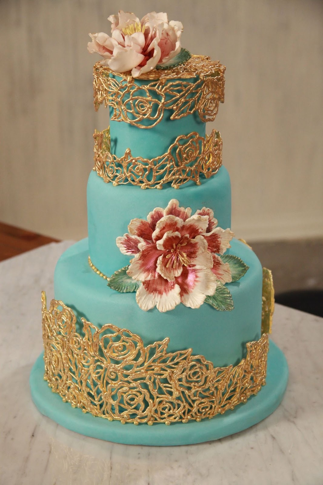 Light Blue Gold Wedding Cake Viewing Gallery