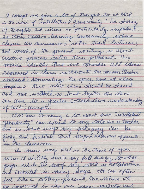 Handwritten Blog Post