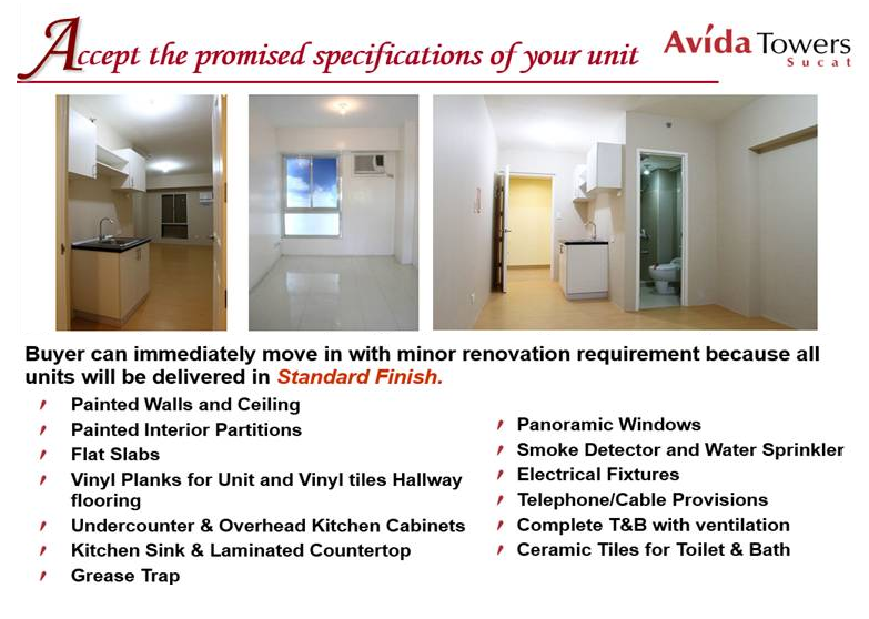 Avida Towers Sucat Condo Deliverables