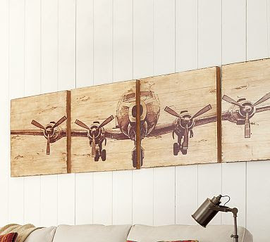 Diy rustic airplane valance pottery barn knock off for Airplane wall decoration