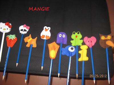 Muñecos para los lápices en fieltro
