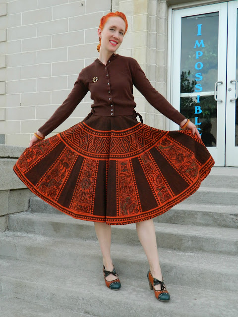 1950s Bobbie Brooks sweater, 1940s aztec handpainted circle skirt Just Peachy, Darling