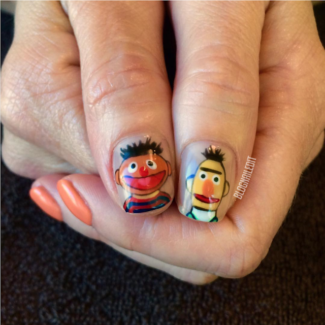 Bert and Ernie Nails by Nailed It @ www.blognailedit.co