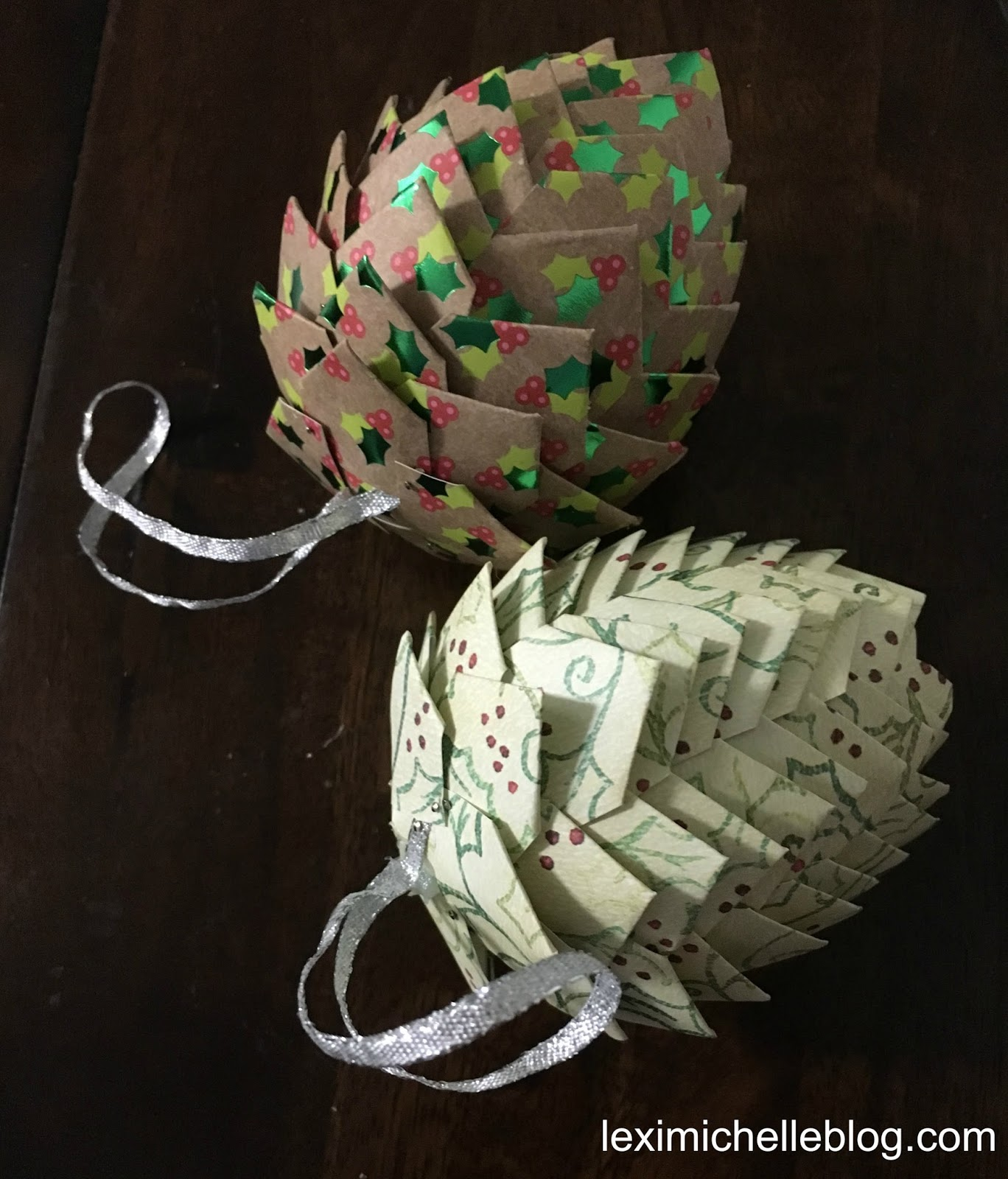 Diy Christmas Ornaments Made From Paper: Lexi Michelle Blog: DIY Paper Pine Cone Christmas Ornaments