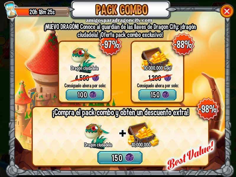 imagen de la oferta del dragon ciudadela de dragon city