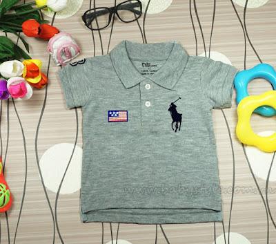 Áo Polo dành cho bé gái - bé trai cực cute màu Xám