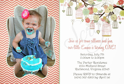 chevron birdcage photo birthday invitation