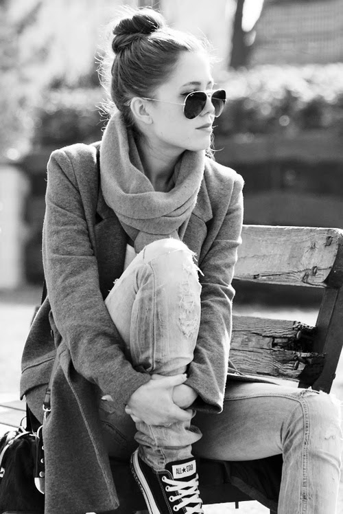 Grey Fashion- Amazing Grey Coat With Grey Scarf and Black Converse,Grey Jeans