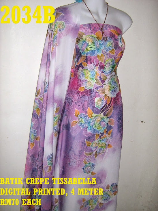 CTD 2034B: BATIK CREPE TISSABELLA DIGITAL PRINTED, EXCLUSIVE DESIGN, 4 METER