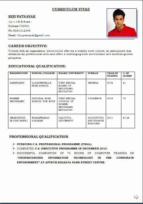 resume format for mca student
