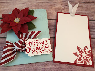 Christmas Gift Card Holder or Special Card: uses Stampin' Up!'s Festive Flower Builder Punch, Reason for the Season stamp set, Mini Treat Bag Thinlits Dies and the Decorative Label Punch.  Love Soft Sky and Cherry Cobbler together!  www.stampwithjennifer.blogspot.com