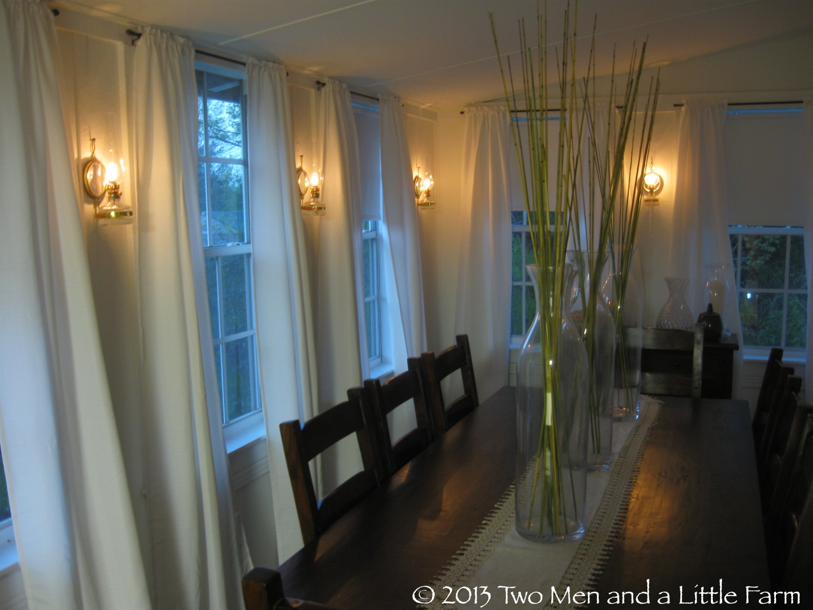 Two Men and a Little Farm: DINING ROOM WALL OIL LAMPS