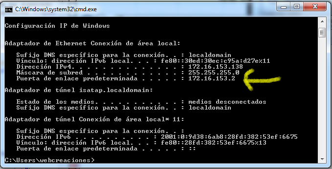 CMD Puerta de enlace windows 7