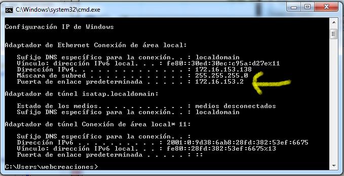 CMD Puerta de enlace windows 7