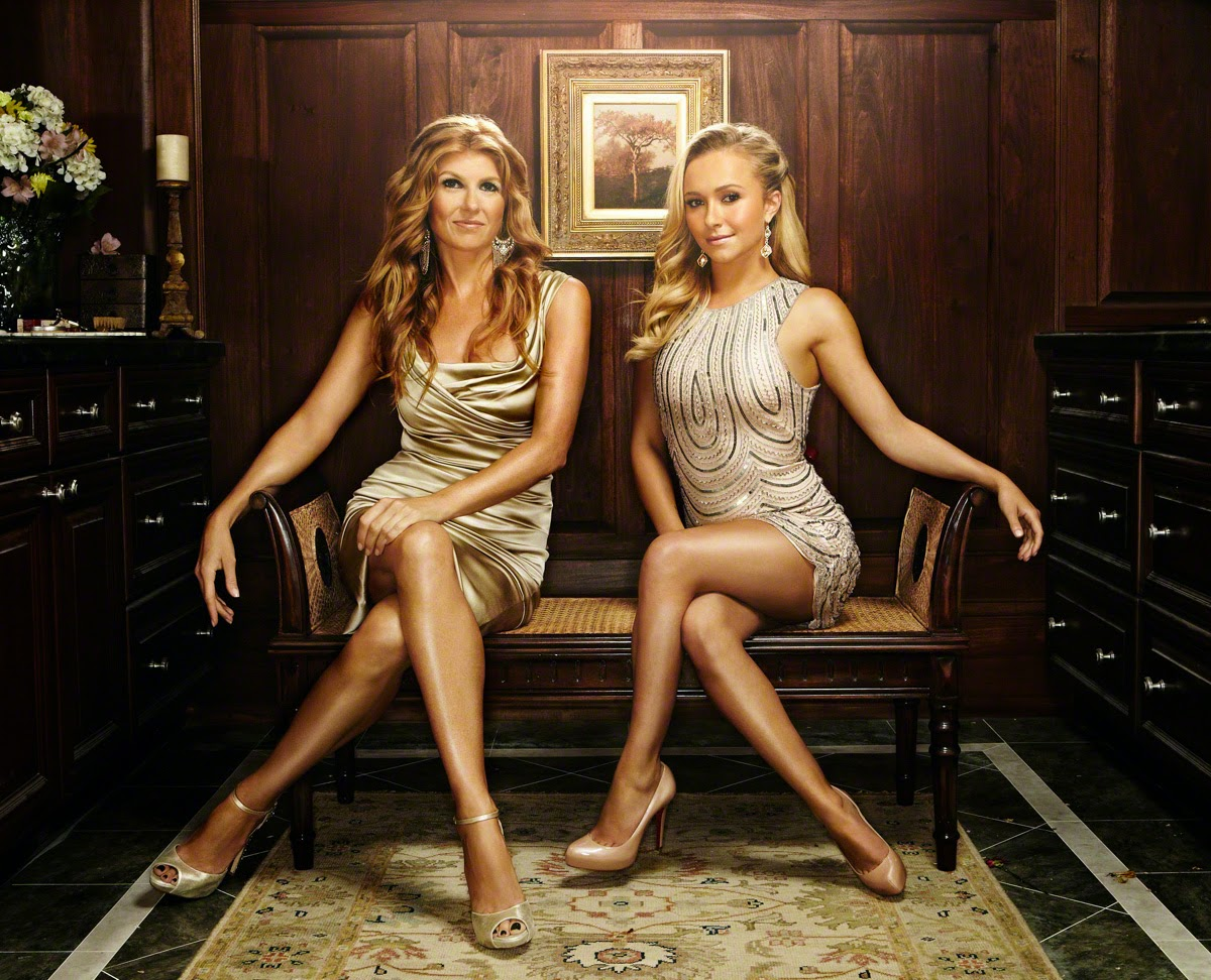 Hayden Panettiere sexy leg pose with Connie Britton from Nashville
