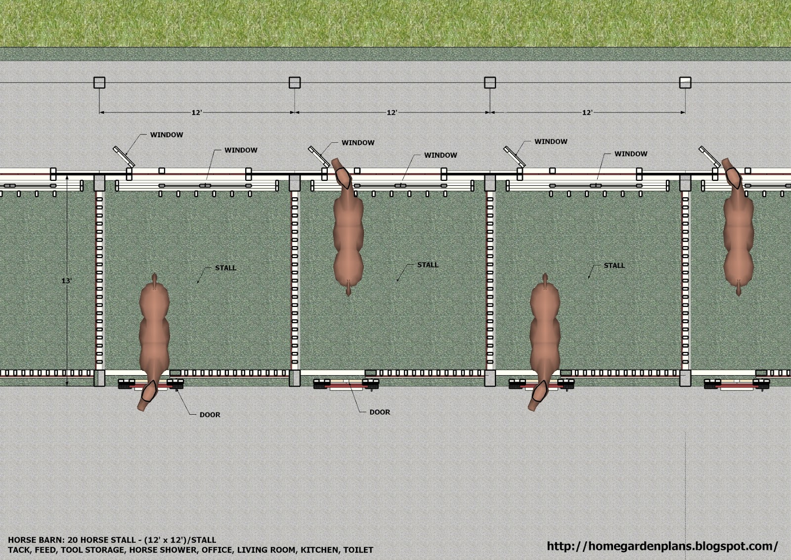 20 Stall Horse Barn Plans http://www.homegardendesignplan.com/2011/07/large-horse-barn-for-20-horse-stall.html