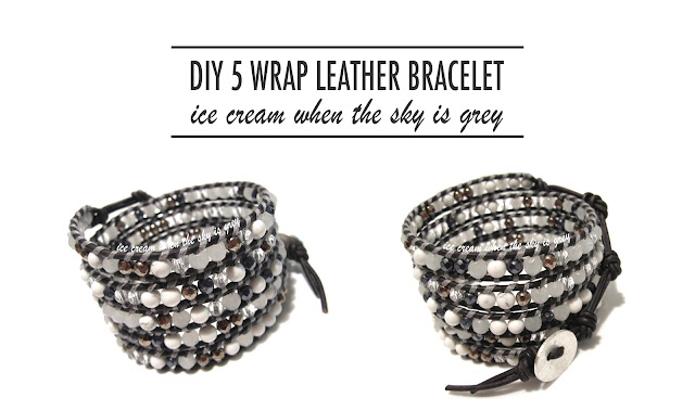 DIY Bracelet: Grey Mix 5 Wrap On Sippa Leather