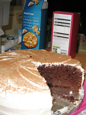 Chocolate fudge cake and Waitrose biscuits
