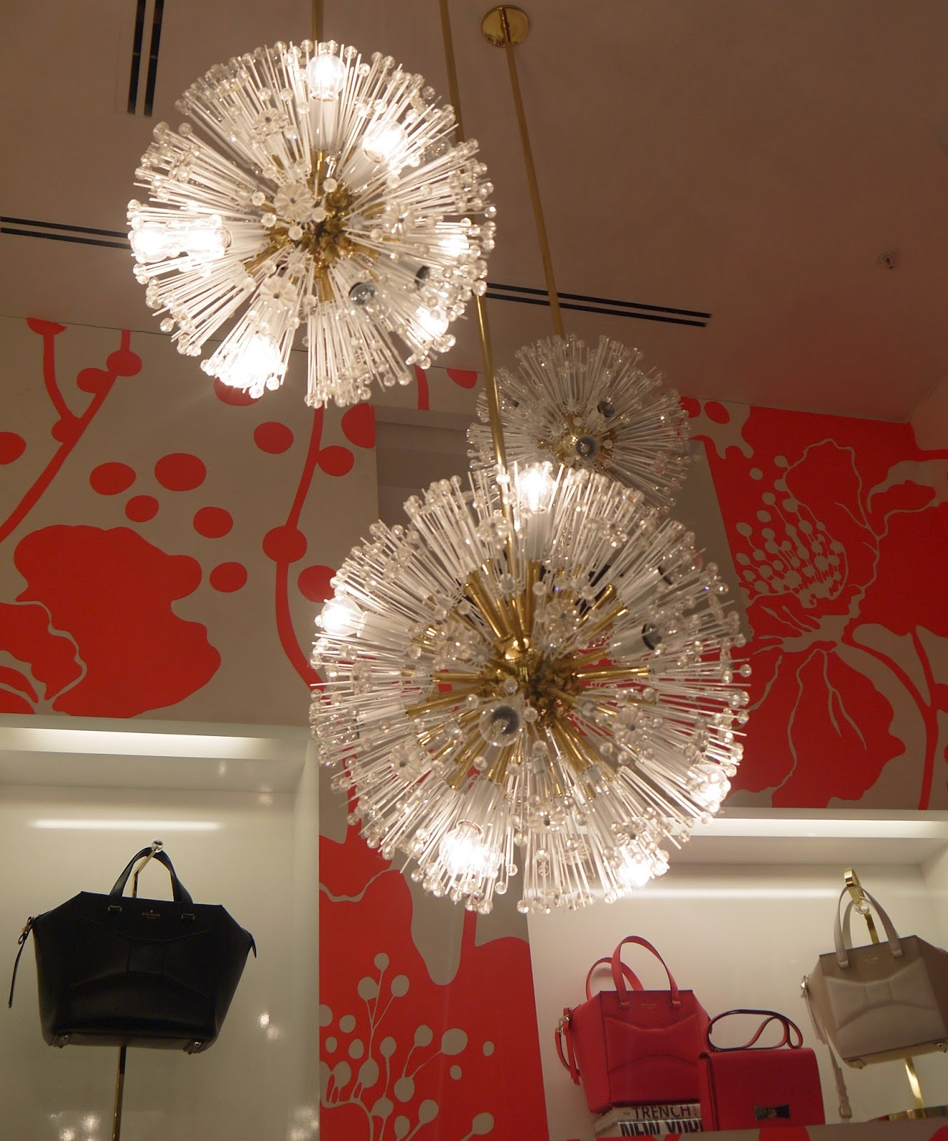 The Beautiful chandeliers at Kate Spade Westfield Store