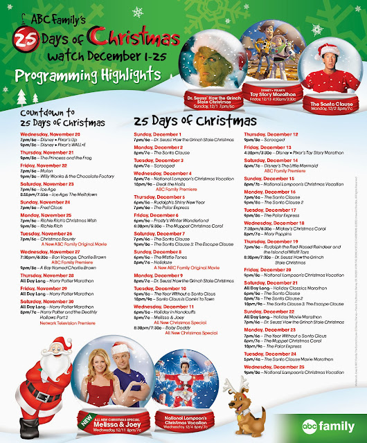 photo regarding Abc Family 25 Days of Christmas Printable Schedule identified as Disney Sisters: December 2013