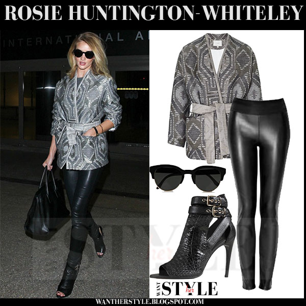 Rosie Huntington-Whiteley in grey belted iro bianza embroidered jacket and black leather paige denim paloma leggings what she wore models off duty