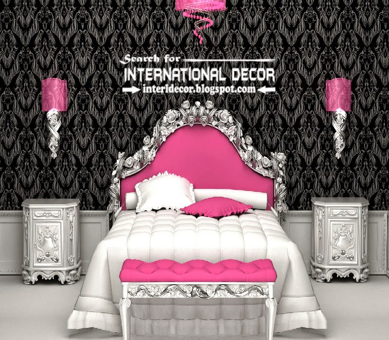 luxury bedroom decorating ideas designs furniture 2015, luxury pink bed black wallpaper