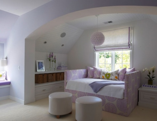 teenage girls room in white and purple, modern mix for girls room