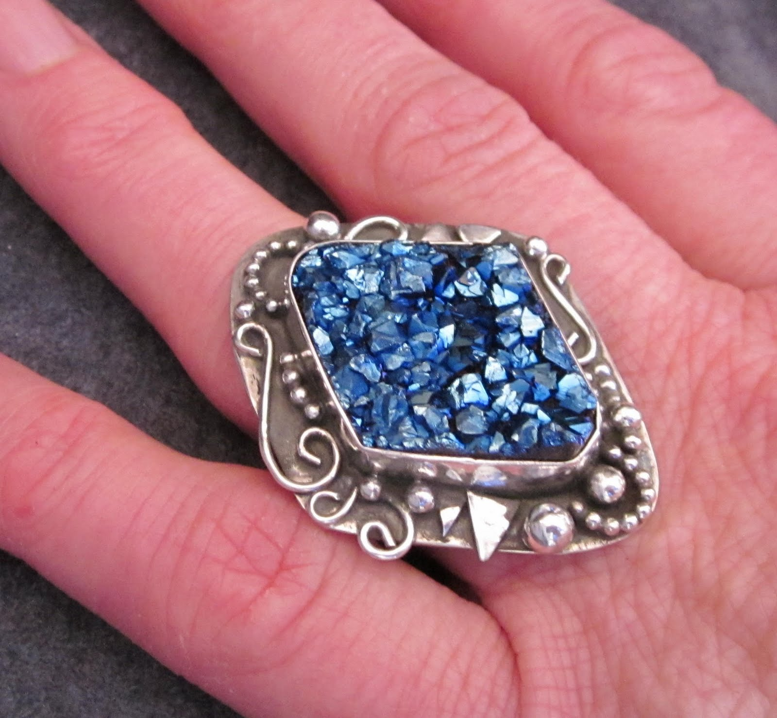 Nancy green jewelry winter 39 s starry night druzy ring for Nancy b fine jewelry