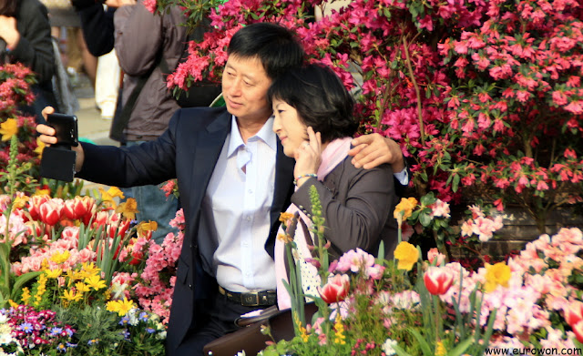 Pareja coreana madura tomándose foto delante de flores