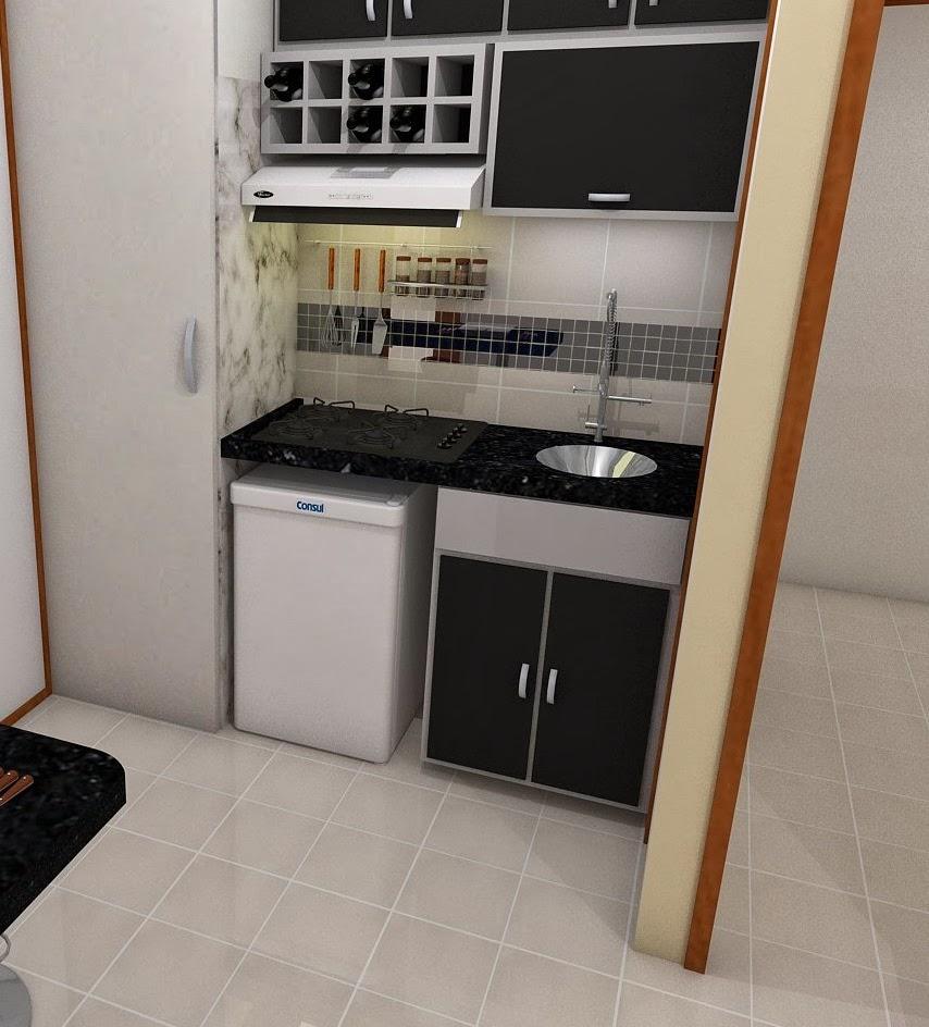 Modelagens Tridimensionais Projeto para kitnet # Cozinha Compacta Para Kitnet