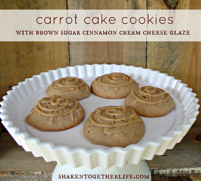 carrot cake cookies with brown sugar cinnamon cream cheese glaze!!