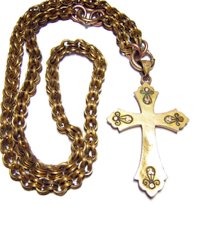 Rose Gold Cross Necklace Vintage