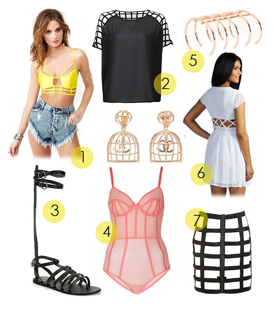cage trend, cage bikini, chanel cage earrings, strappy sandals, cade bodest, cage dress, cade leather skirt, cage top, cage bracelet, where to buy and how to get the uk cage fashion trend, styling