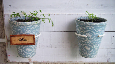 Etiqueta dos vasos da horta vertical