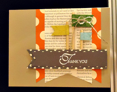 Thank You card with trendy, tiny flags on wooden dowels