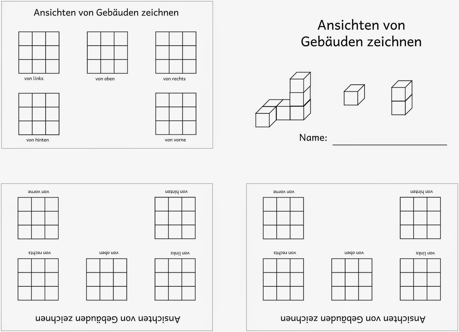 Lernstübchen: Ansichten von Würfelgebäuden zeichnen....